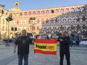 Pepe Alba y Moisés Monroy organizadores II Concurso de Cortadoras y Cortadores de Jamón Badajoz Capital Ibérica