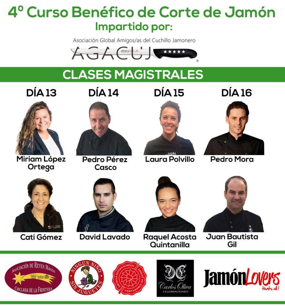 Ponentes del 4º Curso de corte de jamón benéfico organizado por la Asociación Reyes Magos de Chiclana y Agacuj