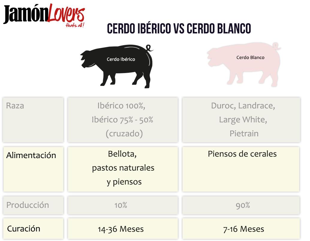 Diferencias jamón blanco y jamón ibérico