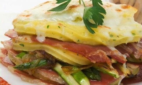 Lasagna jamon iberico