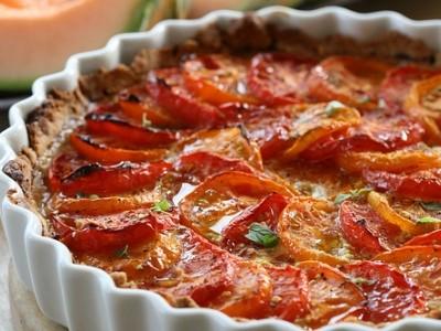 Tarta de tomates y jamón ibérico