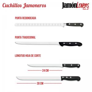 Cuchillos Jamoneros Tipos de punta y Longitud de la hoja de corte