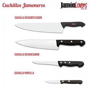 Tipos de cuchillo para cortar un jamón: descortezador, deshuesador y puntilla