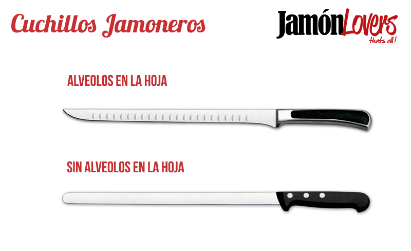 Cuchillos cortar jamón: Cuchillos jamoneros alveolados