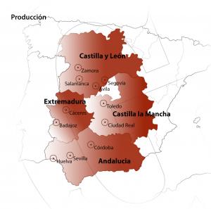 Zonas de adquisición de materia prima para la elaboración de jamón ibérico de la Denominación de Origen Protegida Guijuelo