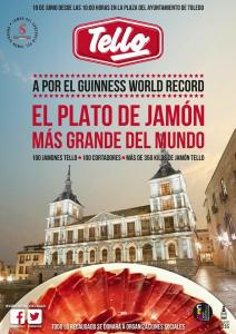 Cartel Guinness World Record, el plato de jamón más grande del mundo