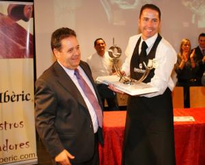 Manuel Pradas Dominguez y Pedro Pérez Cascos, concurso de cortadores de jamón Sant Boi de Llobregat