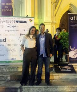 Mari Carmen Martín y Pedro Mora, organizadores del II Concurso de Cortadores de Jamón Ciudad de Chipiona