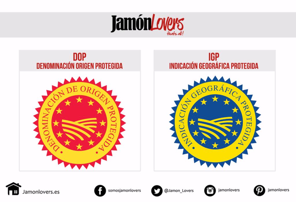 Jamón Ibérico, logotipos Denominación Origen Protegida e Indicación Geográfica Protegida
