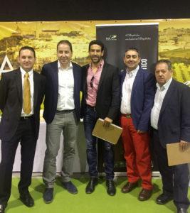 Miguel Ángel Abril, Pedro Pérez Cascos, Fran Robles, Clemente Gómez y Manuel Pradas. II Concurso Cortadores jamón Montilla
