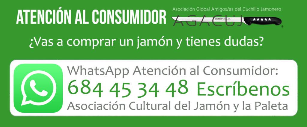 Atención al Consumidor Whatsapp de AGACUJ. Ayuda a la hora de comprar un jamón.
