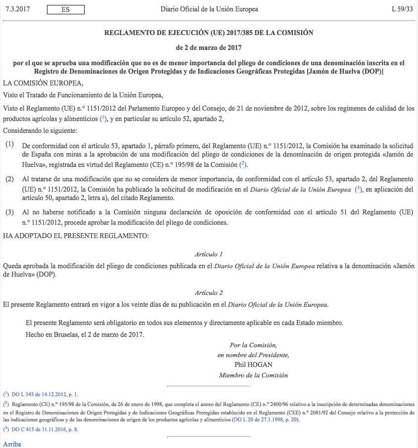 Publicación Oficial del cambio de nombre en el Diario Oficial de la Unión Europea de la DOP Jabugo