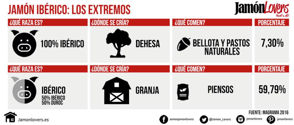 Diferencias entre el Jamón de Bellota 100% Ibérico y el jamón de cebo ibérico (50% Raza Ibérica).