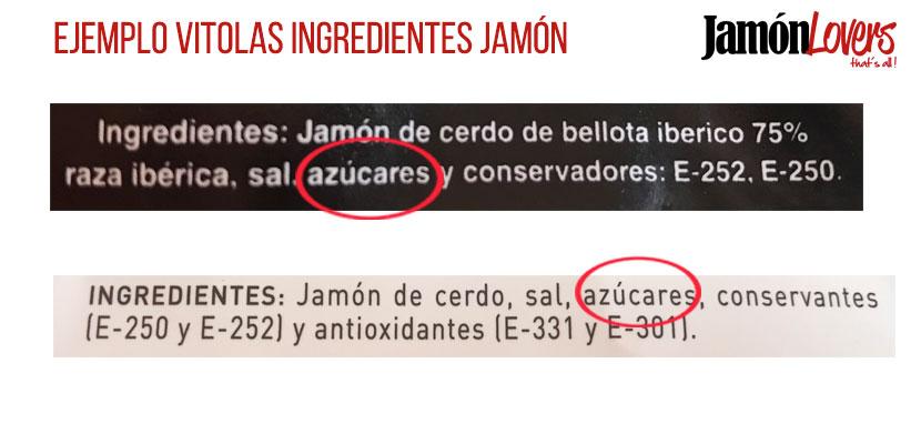 Ejemplo ingredientes jamón