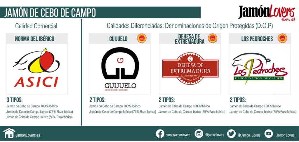 Jamón de Cebo de Campo Ibérico Tipologías