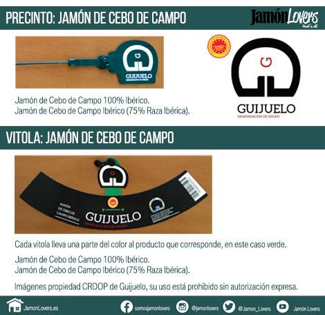 Precinto y vitola Jamon de Cebo de Campo, DOP Guijuelo