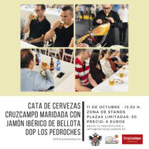 Cata maridaje de Jamón de Bellota DOP de Los Pedroches con cervezas Cruzcampo.