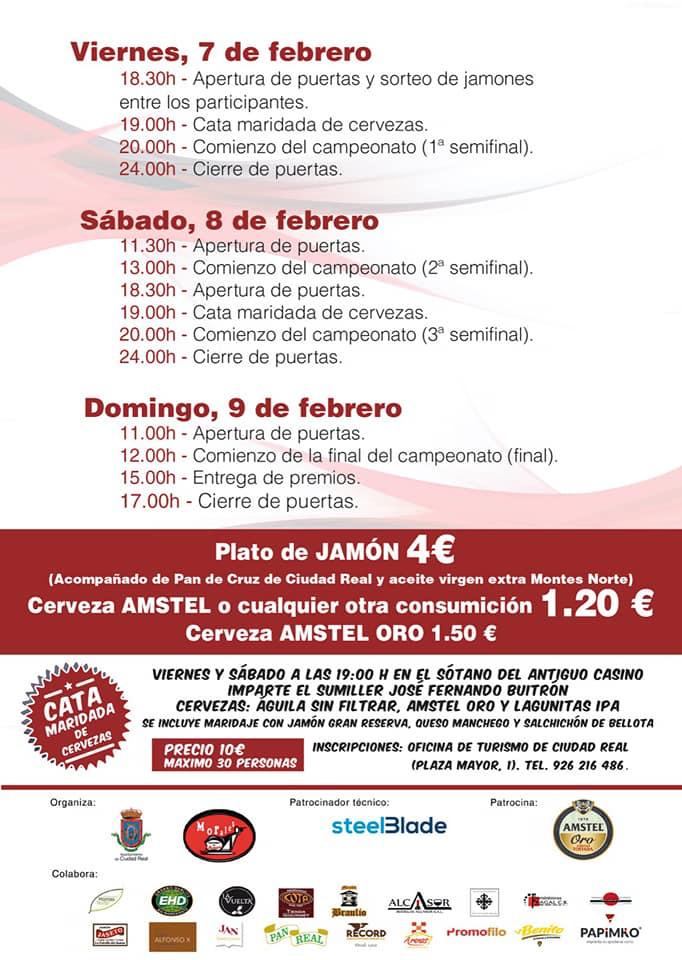 Programa V Campeonato Regional de Cortadores de Jamón Ciudad Real