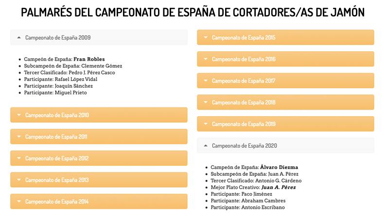 Palmarés Campeonato España Cortadores de jamón 2009 2020
